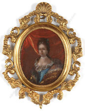 """""""Portrait of a noblewoman"""", French oil on copper miniature, early 18th century"""