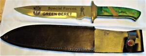 """New Hunting Knife~SPECIAL FORCES GREEN BERET 13 1/4""""~Etched W/SHEATH/Boxed"""