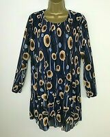 Italian Tunic Top Blouse Pleated Blue Lagenlook One Size UK 16 18 20 22