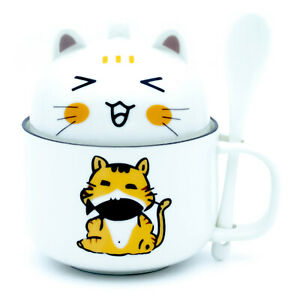 Cute Coffee Mug Tea Cup Novelty Gifts Ceramic Mug with Lid & Spoon Lovely Kitty