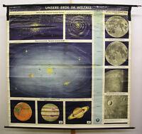 Schulwandkarte Wandbild Erde Weltraum 181x176 vintage earth universe chart ~1960