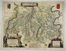 Original Copper Engraved Map of Germany - FOSSA SANCTAE MARIAE  by Bleau in 1635