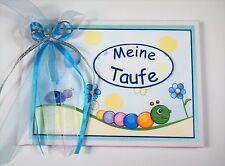 """Süßes Gästebuch/Album zur Taufe """"Kleine Raupe"""" - blau"""