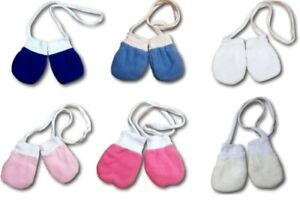 Newborn Baby Winter Fleece Mittens With String Plain Gloves Cotton Lining Unisex