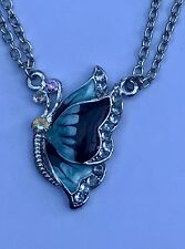 Butterfly Necklace, Turquoise Enamel, Silver Tone, Crystals, Free Postage