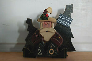 Santa Claus & Trees 3D wooden countdown to Christmas home decor advent calendar