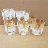 "6 Vintage Glass Tumblers Gold White Geometric Design 2 each 5.5"" - 5"" - 3"" tall"