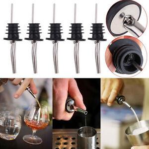 1/2/5pc Stainless Steel Liquor Spirit Pourer Free Flow Bottle Pour Spout Stopper