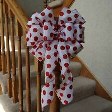 WHITE SATIN BOW RED POLKA DOTS~ CHRISTMAS GIFTS CRAFTS BIRTHDAY PARTY DECORATION