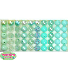 20mm Green to Mint Mixed Style Chunky Bubblegum Beads LOT 120 pc.