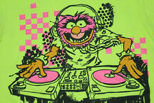 Muppets Animal DJ T-Shirt Mens Small (34/36) Neon Yellow Green Record Turntables