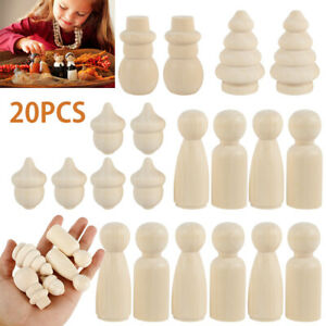 20Pcs Unfinished Wood Dolls Wooden Peg Little People Kid Arts Craft Painted Toys