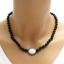 "Genuine Black Onyx, White Turquoise, Hematite, & CZ 6mm Bead 18"" Necklace"
