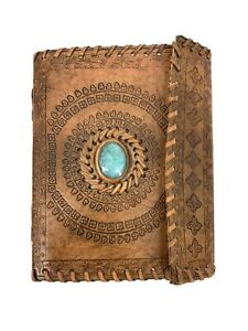 Vintage Boho Hand Tooled Leather Bound Blank Journal Notebook Notepad
