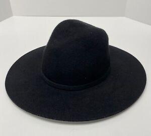 Zara Black 100% Wool Wide Brim Hat Women's Size M USED #105B