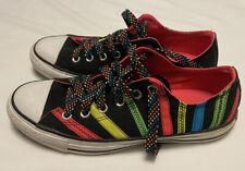 Converse All Star Black/Neon Rainbow Ribbon Tennis Shoes Womens 10