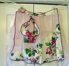 VINTAGE APRON ORGANDY & COTTON WITH ROSES UNUSED PINK PURPLE & WHITE