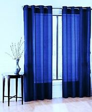 1 BRONZE 8 GROMMET SHEER WINDOW PANEL CURTAIN TREATME DRAPE RUBY ROYAL BLUE 84""