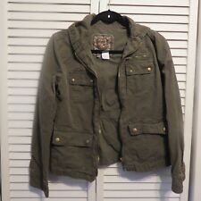 J.CREW 100% Cotton Military Green Washed& Aged Zip up Hooded Jacket Size 0 EUC