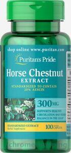 HORSE CHESTNUT EXTRACT 300MG x100 Caplets Puritans Pride PREMIUM LEG CIRCULATION