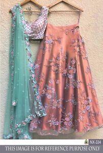 Floral Design Bollywood Indian Party NET Lehenga Lengha Choli Stylish Pakistani