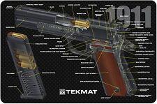 TekMat Gun Cleaning Bench Mat 1911 Pistol Cut Away COLOR Rubber Backed 11W x 17L