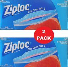 New listing New 2 Pack Ziploc Double Zipper 38 Freezer Gallon Food Storage Bags = 76 Bags