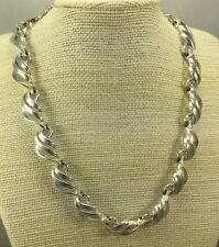 Vintage Necklace Coro Silvertone textured & Smooth Cast Metal Piercedwork Panels