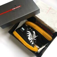 Prada Stratus Canvas High Top Black Yellow And White Mens UK9 Boxed