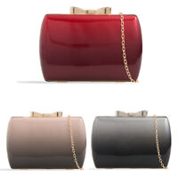 Ladies 2 Tone Patent Box Clutch Bag Bow Evening Bag Glossy Bag Handbag KH2441
