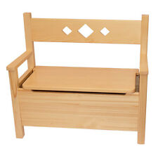 Childrens Furniture Solid Pine One Bench Storage Box Natural Varnished