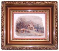 Antique Oil Painting on Glass Gold Leaf Eastlake Picture Frame 19th Century