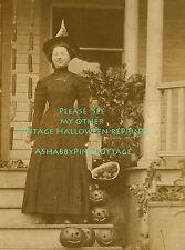 Vintage Halloween Photo Witch and Pumpkins 8.5 x 11 Antique RePrint #341