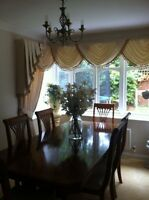 SQUARE BAY WINDOW DESIGNER CURTAINS SWAGS & TAILS TASSELLED CREAM GOLD