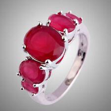 Wunderschöner  Damen Ring  Rubin/Rot  925er  Silber pl.  Top !