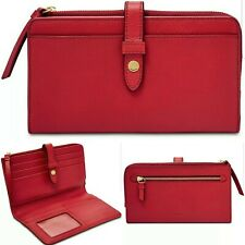 FOSSIL Womens Fiona Leather Tab Wallet Large Clutch $70 Poppy Red