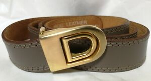 Beautiful Ladies Vintage Mauve Leather Gold Buckle Belt