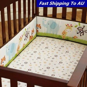 4Pcs Baby Infant Cot Crib Safety Bumper Toddler Nursery Bedding Bed Protector AU