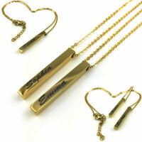 Personalized Engraved Name Plate Vertical Bar Necklace Pendant Gold Tone #03-04