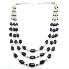 Necklace natural purple sunstone gemstone oval round beaded handmade 60.5 gram