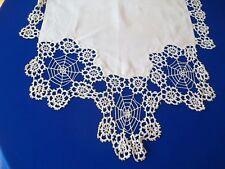 Antique Runner Linen Spider Crochet Motif Ends Handmade pre 1920's Shawl ?