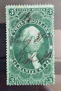 1862-71 $3 U.S Revenue Manifest Stamp  #R86 Used Hinged