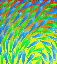 Aboriginal Inspired Print Art Painting Jane Crawford  fish poster fishing