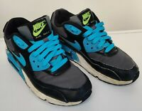 Nike Air Max 90 Trainers,  UK Size 3 Black Blue Yellow White *Used GC* RRP £60