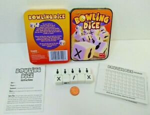 Bowling Dice Fundex Travel  Complete Clean ready to Play   Tin show some wear