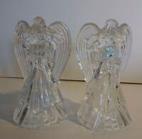"""Vintage Crystal Angel Candle Holder Figurine PAIR Clear Glass Christmas 7 1/2"""""""