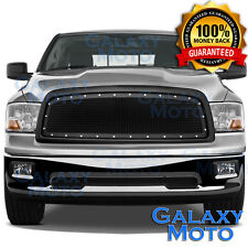 09-12 Dodge RAM 1500 Front Hood Matte Black Mesh Grille+Rivet+Replacement Shell