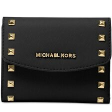 New Michael Kors Ava Stud trim Carryall Card Case Wallet Black Leather saffiano