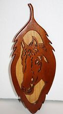 """Western Art Natural Wood HORSE Head Plaque Cut Out Wooden Wall Hanging 16"""" x 6"""""""