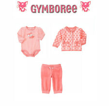 "Gymboree Baby girls ""Animal Friends"" Fox Sweater/Top/Velour Pant Set 12-18 M"